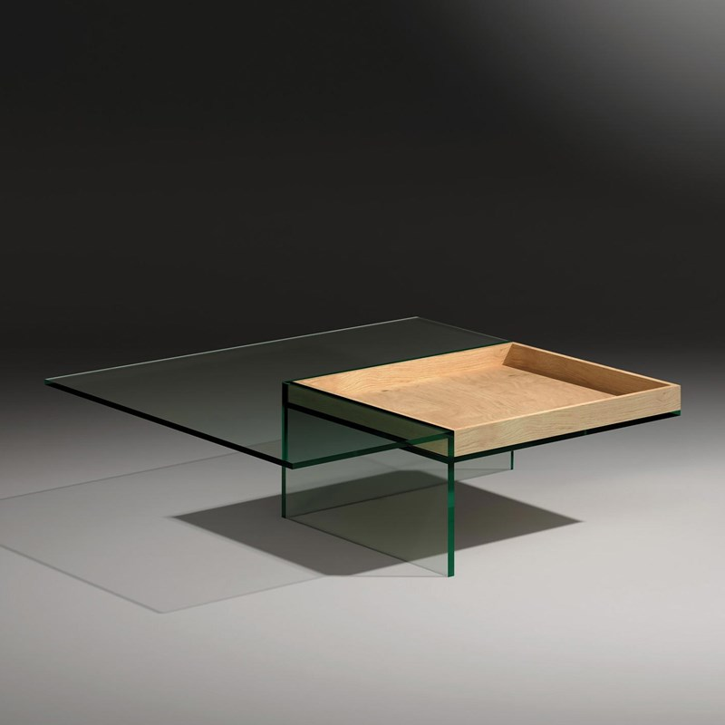 Glass cocktail table SERVA by DREIECK DESIGN: SERVA 97 - floatglass - tray oak
