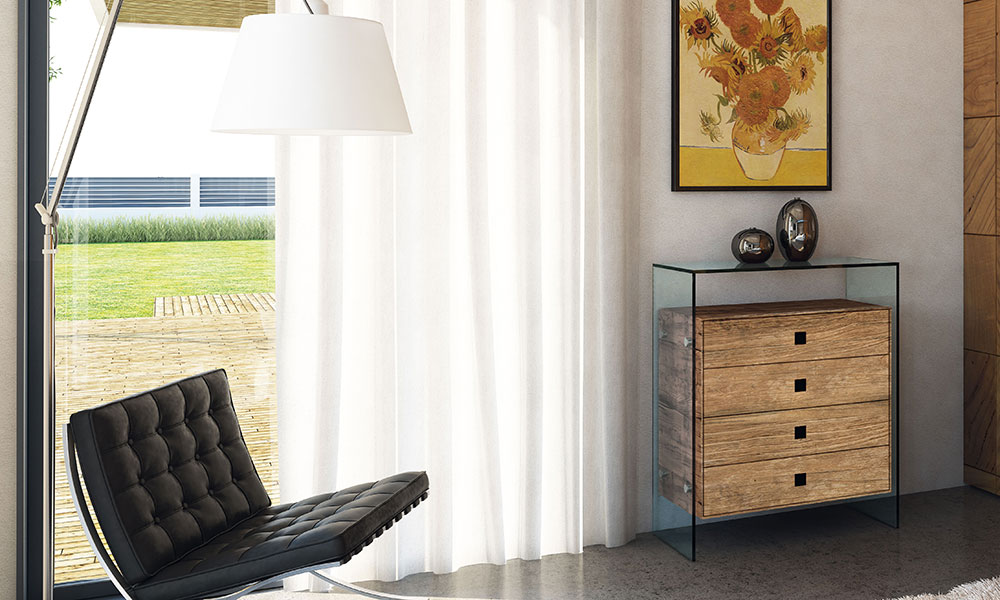 Fluar frames with vintage furniture from DREIECK DESIGN - wooden chest of drawers FUSION WOOD