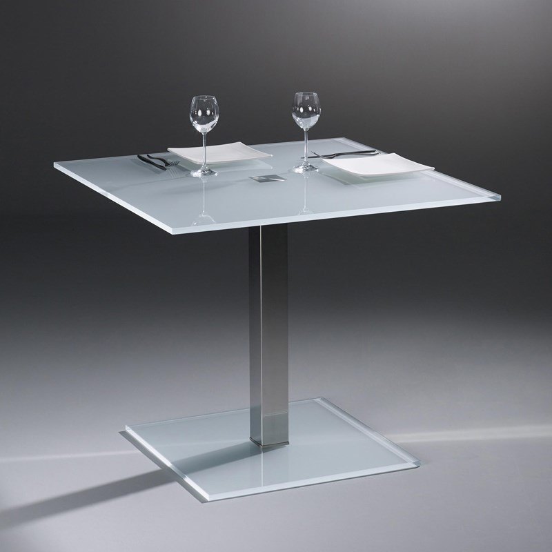Glass table QUADRO SOLO by DREIECK DESIGN: QS 9974 - OPTIWHITE satinated - table feet stainless steel polished