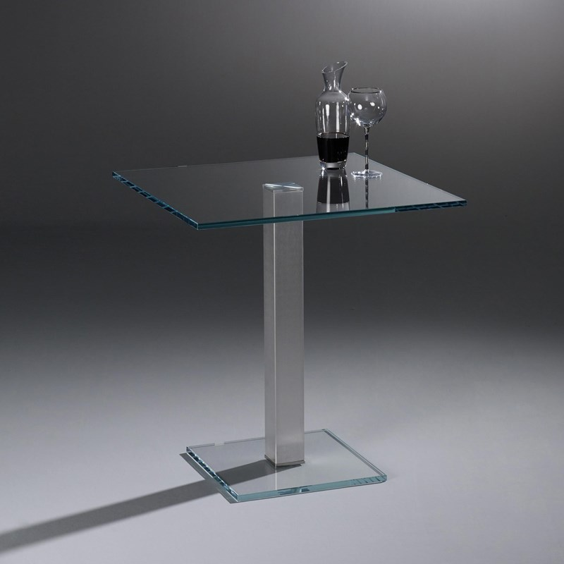 Glass table QUADRO SOLO by DREIECK DESIGN: QS 7774 OW k - OPTIWHITE  clear - table feet stainless steel brushed