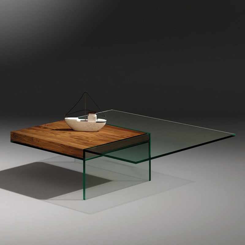 Glass cocktail table SERVA by DREIECK DESIGN: SERVA 97 - floatglass - tray walnut