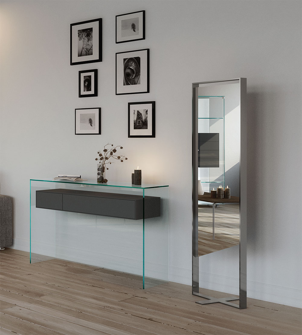 Design the hallway - designer furniture from DREIECK DESIGN - Fly glass console and standing mirror GIOLINA