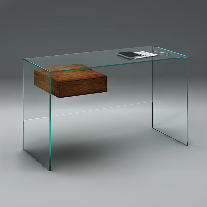 Glass desk FLY by DREIECK DESIGN - glass Optiwhite - drawer solid wood walnut