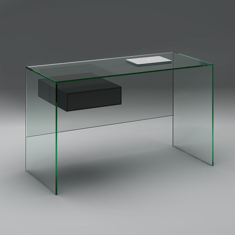 Glass desk FLY by DREIECK DESIGN - Floatglass - drawer solid wood lacquered silk-mat anthracite grey