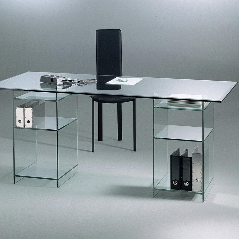 Glass table CLASSIC 5532 by DREIECK DESIGN: FLOATGLASS + base with 2 shelves