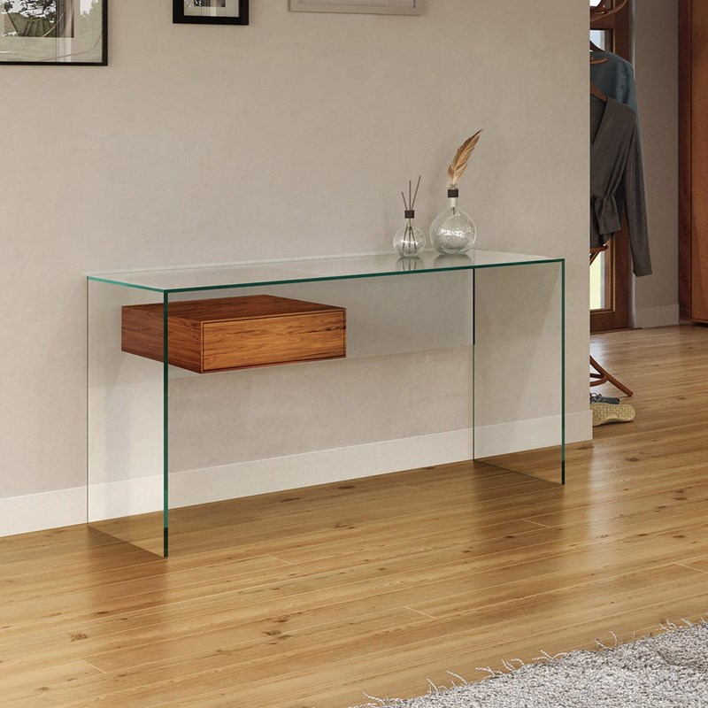 Glass desk FLY by DREIECK DESIGN - glass floatglass - drawer solid wood walnut