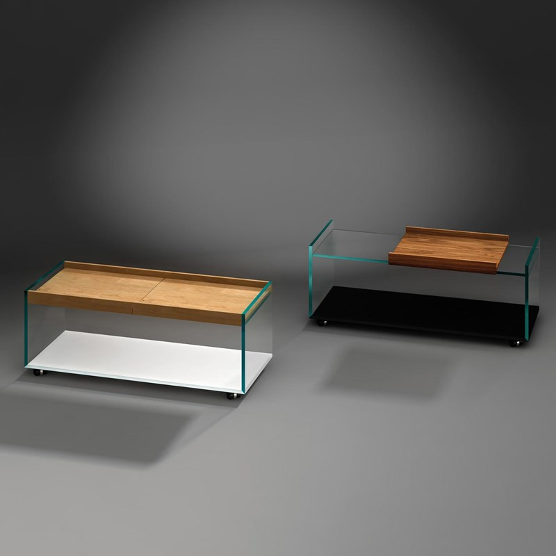 Glass Coffee Table With Wooden Tray By Dreieck Design - What Color Should A Sofa Table Be