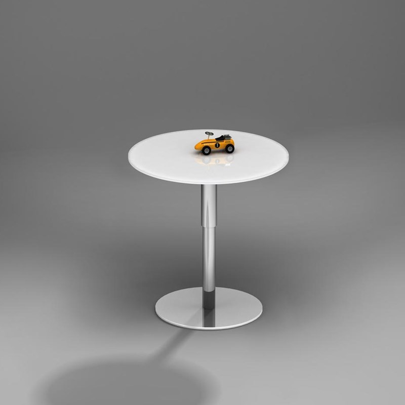 Height adjustable glass coffee table SLIDE by DREIECK DESIGN: SLIDE 50 - OPTIWHITE color pure white - base glossy chromed